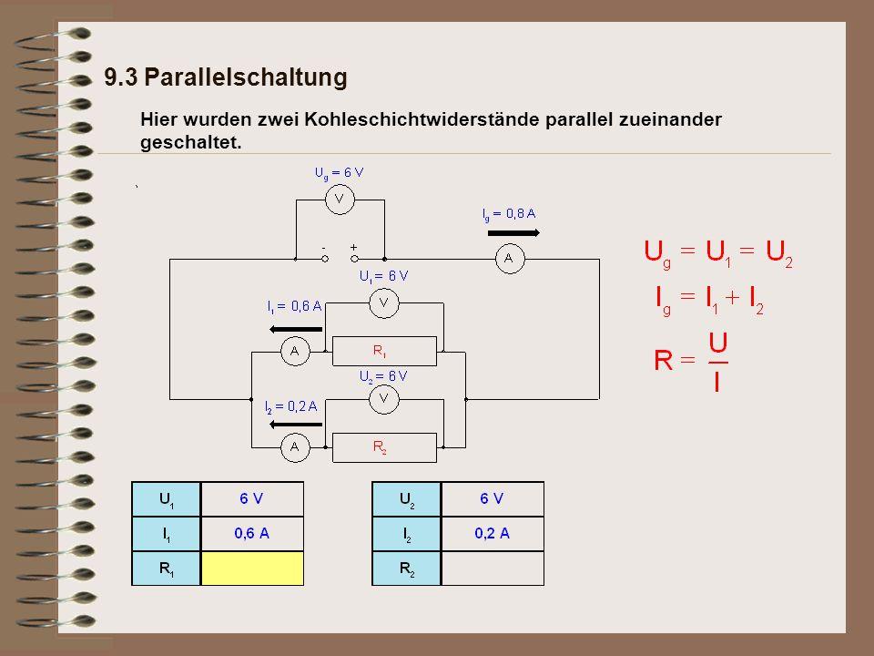 9.3 Parallelschaltung Hier wurden zwei Kohleschichtwiderstände parallel zueinander geschaltet.