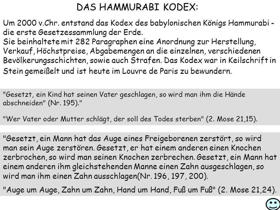 DAS HAMMURABI KODEX: Um 2000 v.Chr. entstand das Kodex des babylonischen Königs Hammurabi - die erste Gesetzessammlung der Erde.