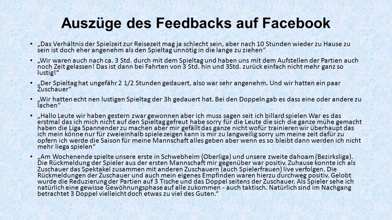Auszüge des Feedbacks auf Facebook