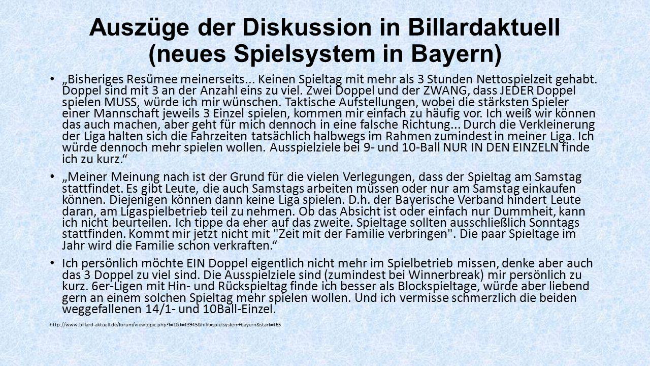 Auszüge der Diskussion in Billardaktuell (neues Spielsystem in Bayern)