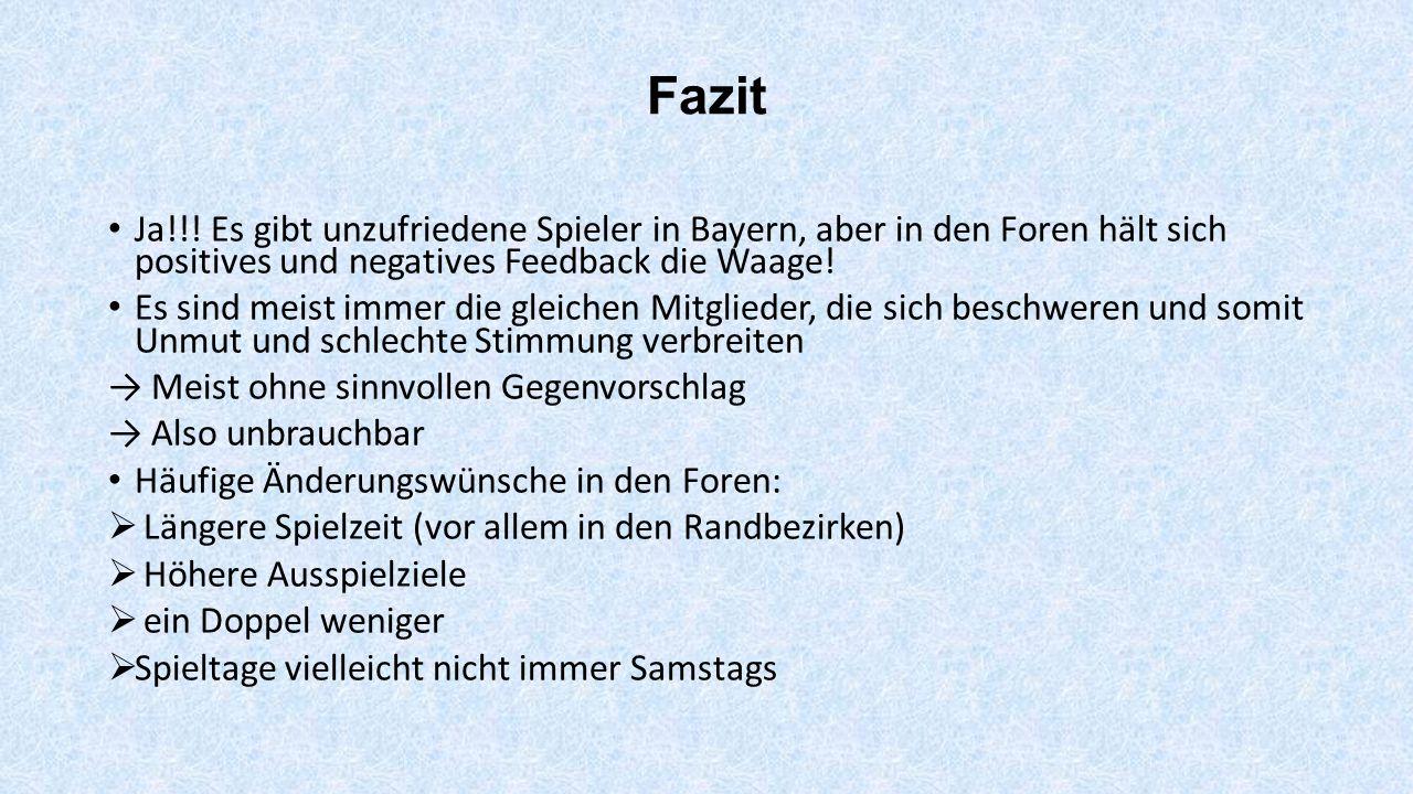 Fazit Ja!!! Es gibt unzufriedene Spieler in Bayern, aber in den Foren hält sich positives und negatives Feedback die Waage!