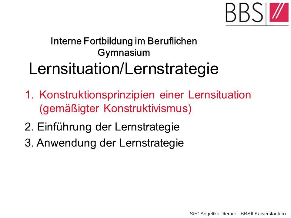 2. Einführung der Lernstrategie 3. Anwendung der Lernstrategie