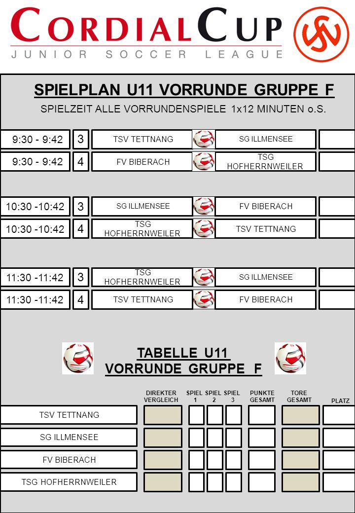 SPIELPLAN U11 VORRUNDE GRUPPE F