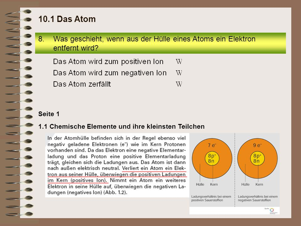 10.1 Das Atom Was geschieht, wenn aus der Hülle eines Atoms ein Elektron entfernt wird.
