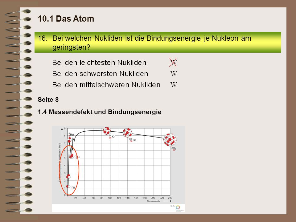 10.1 Das Atom Bei welchen Nukliden ist die Bindungsenergie je Nukleon am geringsten.