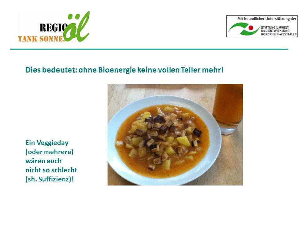 Dies bedeutet: ohne Bioenergie keine vollen Teller mehr!