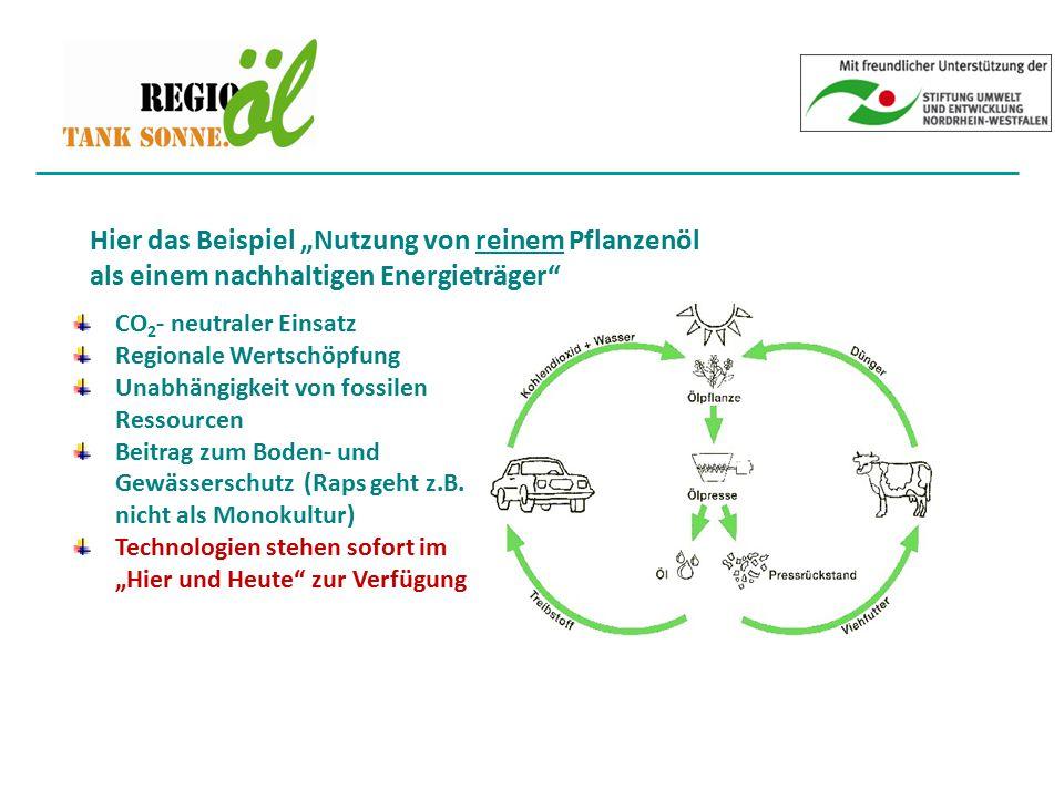 """Hier das Beispiel """"Nutzung von reinem Pflanzenöl als einem nachhaltigen Energieträger"""