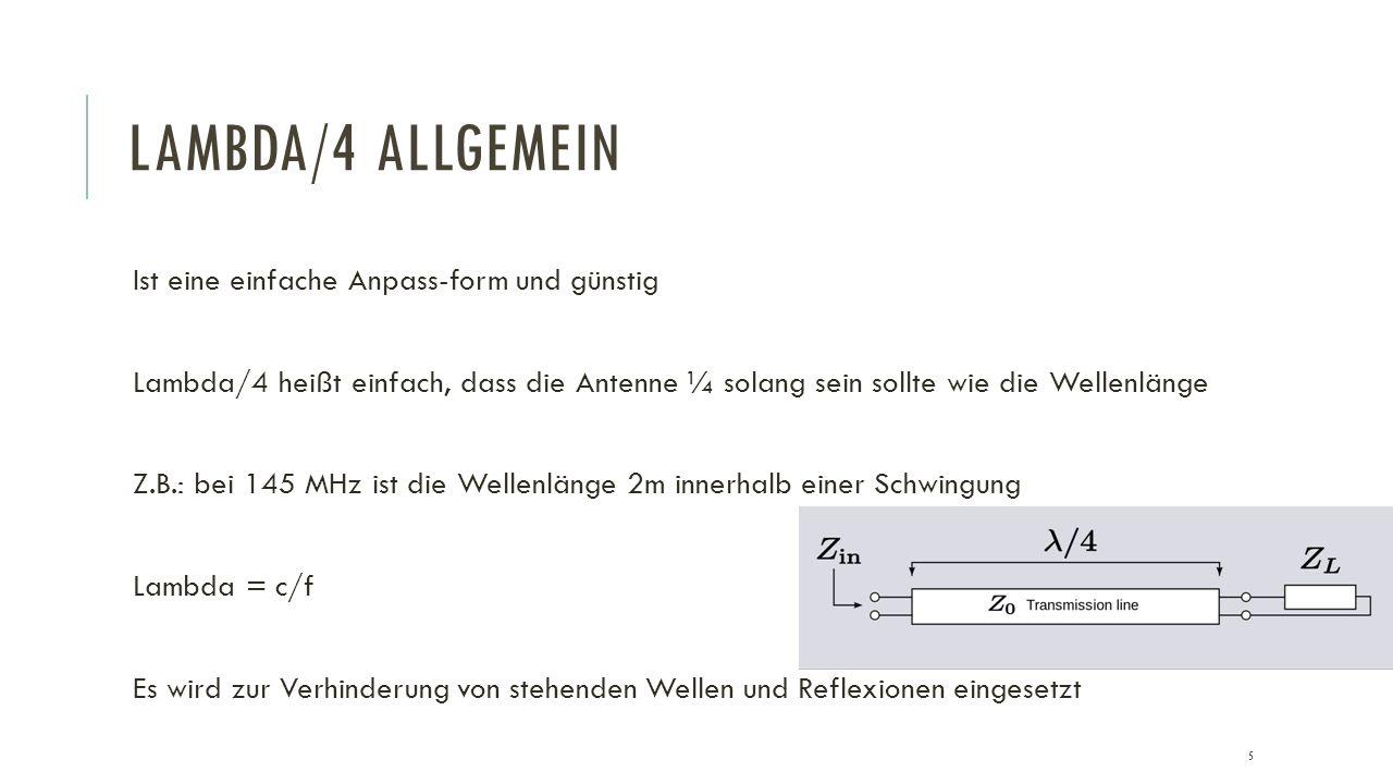Lambda/4 Allgemein Ist eine einfache Anpass-form und günstig