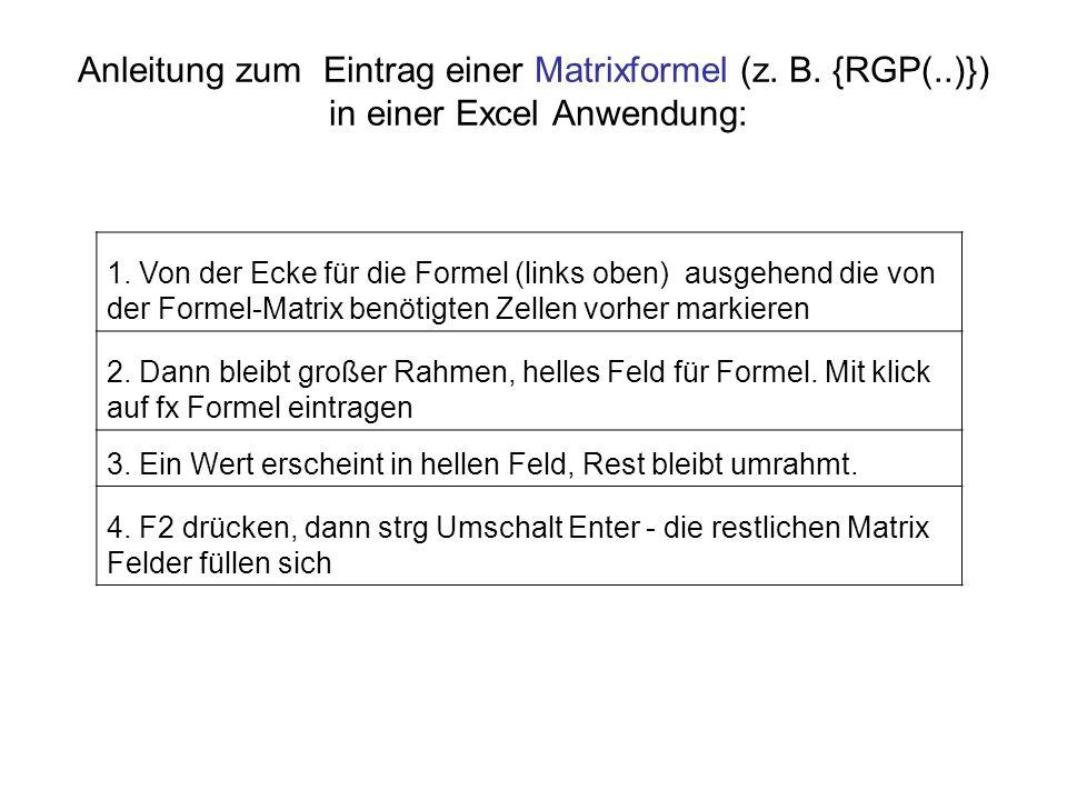 Anleitung zum Eintrag einer Matrixformel (z. B. {RGP(