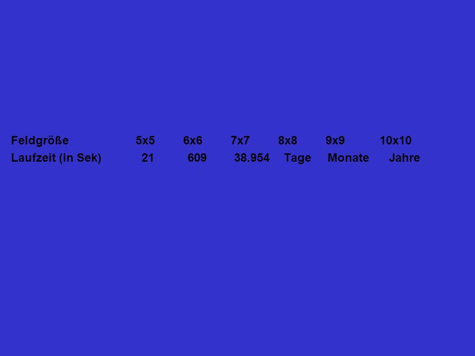 Feldgröße 5x5 6x6 7x7 8x8 9x9 10x10 Laufzeit (in Sek) 21 609 38.954 Tage Monate Jahre.