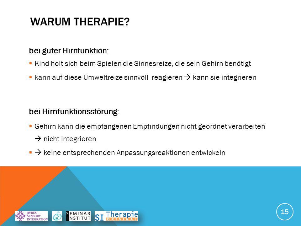 Warum Therapie bei guter Hirnfunktion: bei Hirnfunktionsstörung: