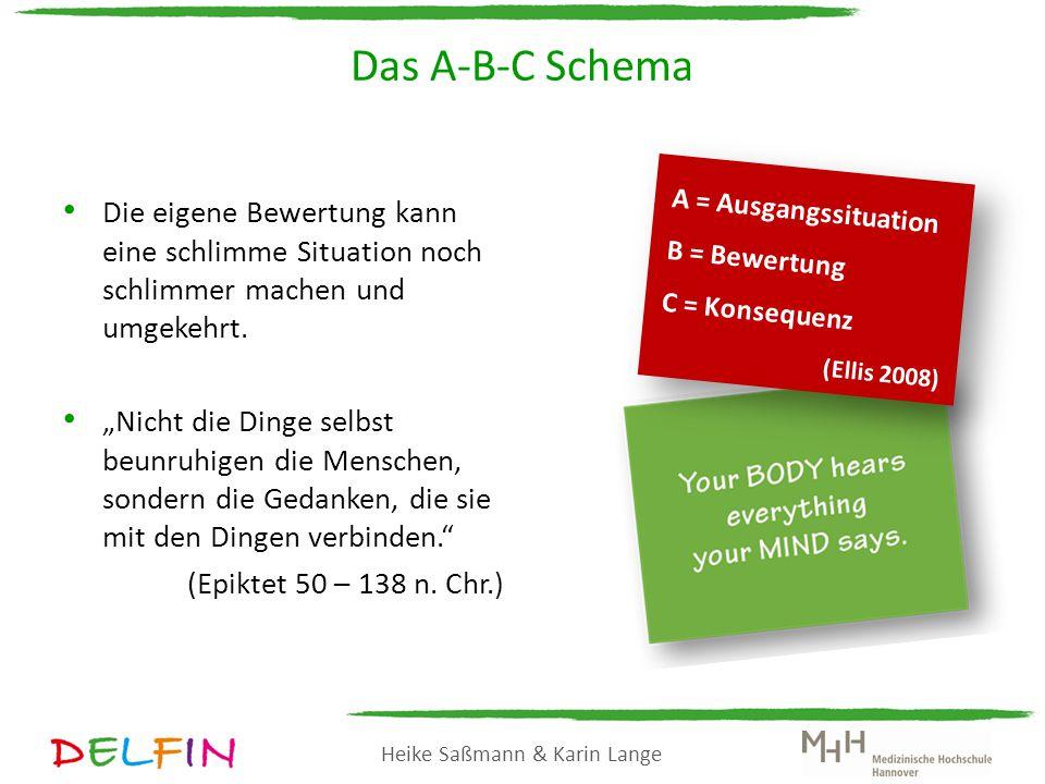 Das A-B-C Schema A = Ausgangssituation. B = Bewertung. C = Konsequenz. (Ellis 2008)