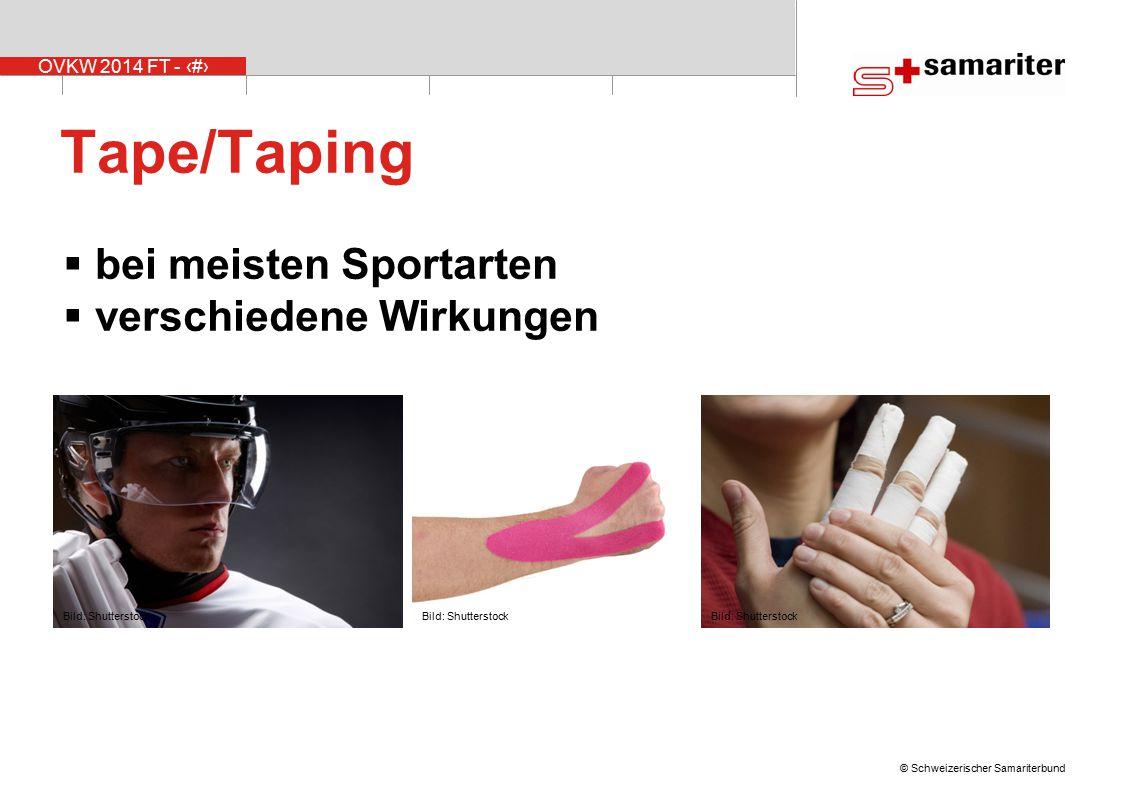Tape/Taping bei meisten Sportarten verschiedene Wirkungen