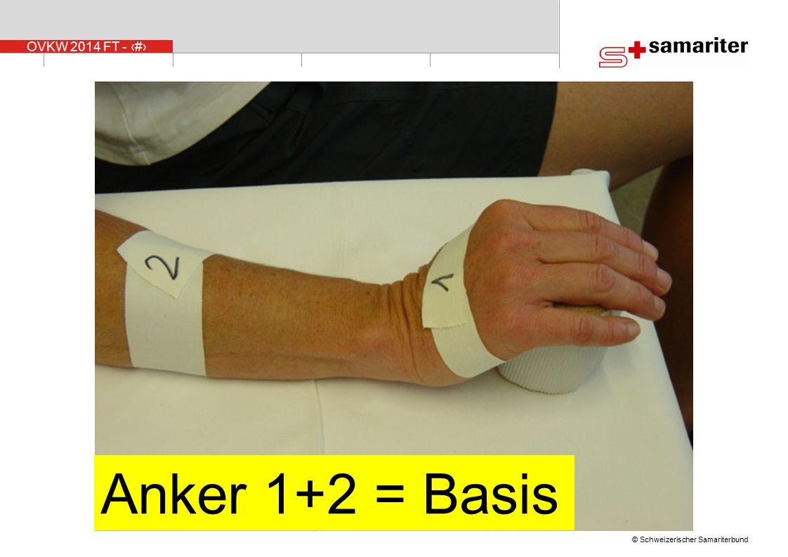 Nr. 2, der zweite Anker , wird ungefähr 5 cm über dem Handgelenk angelegt. Nr.1 und 2 bilden die Basis .
