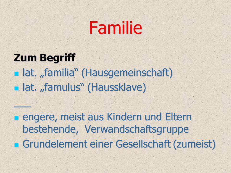 """Familie Zum Begriff lat. """"familia (Hausgemeinschaft)"""