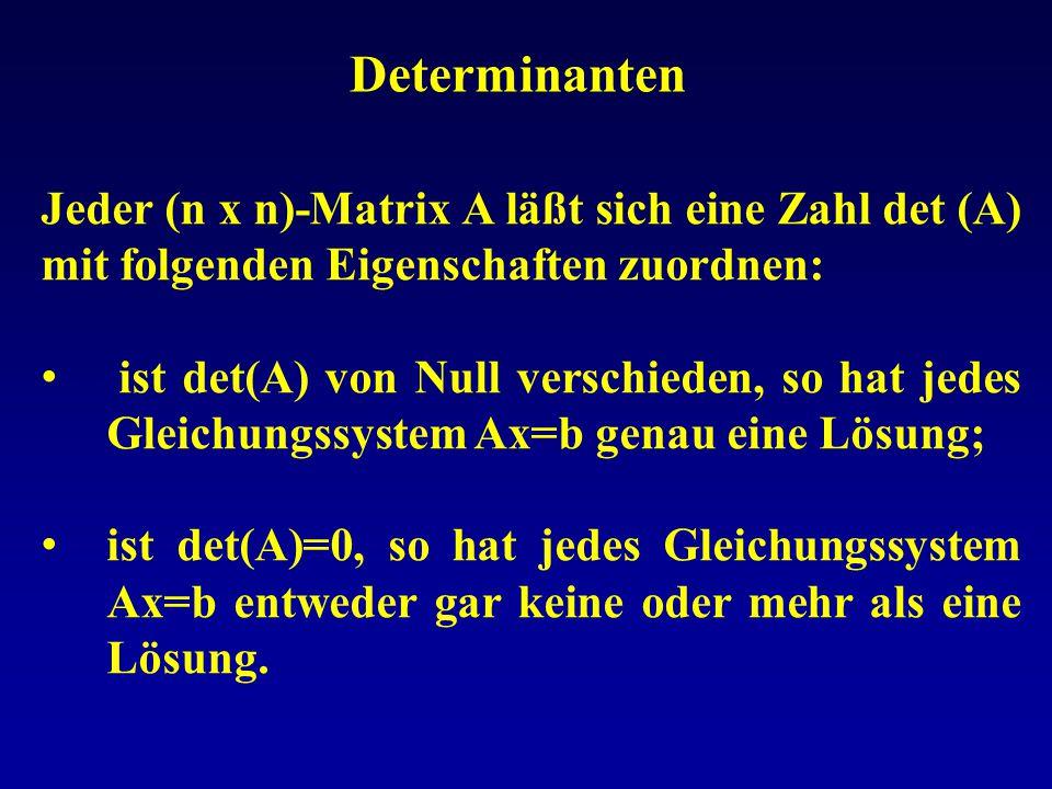 Determinanten Jeder (n x n)-Matrix A läßt sich eine Zahl det (A) mit folgenden Eigenschaften zuordnen: