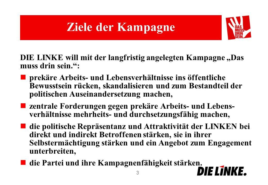 """Ziele der Kampagne DIE LINKE will mit der langfristig angelegten Kampagne """"Das muss drin sein. :"""