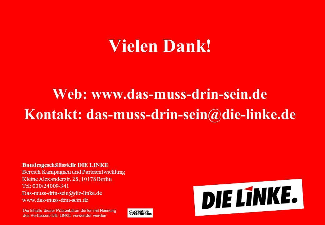 Vielen Dank! Web: www.das-muss-drin-sein.de Kontakt: das-muss-drin-sein@die-linke.de Kommentierung: