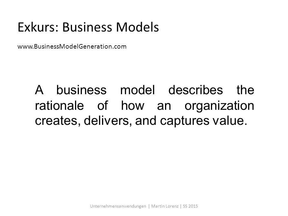 Exkurs: Business Models