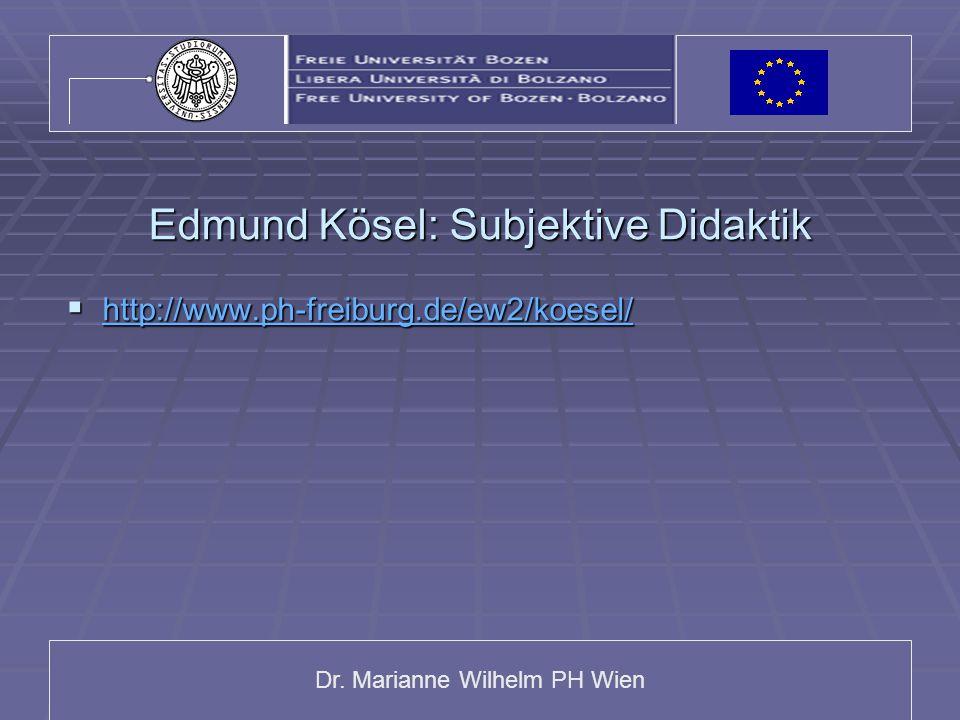 Edmund Kösel: Subjektive Didaktik