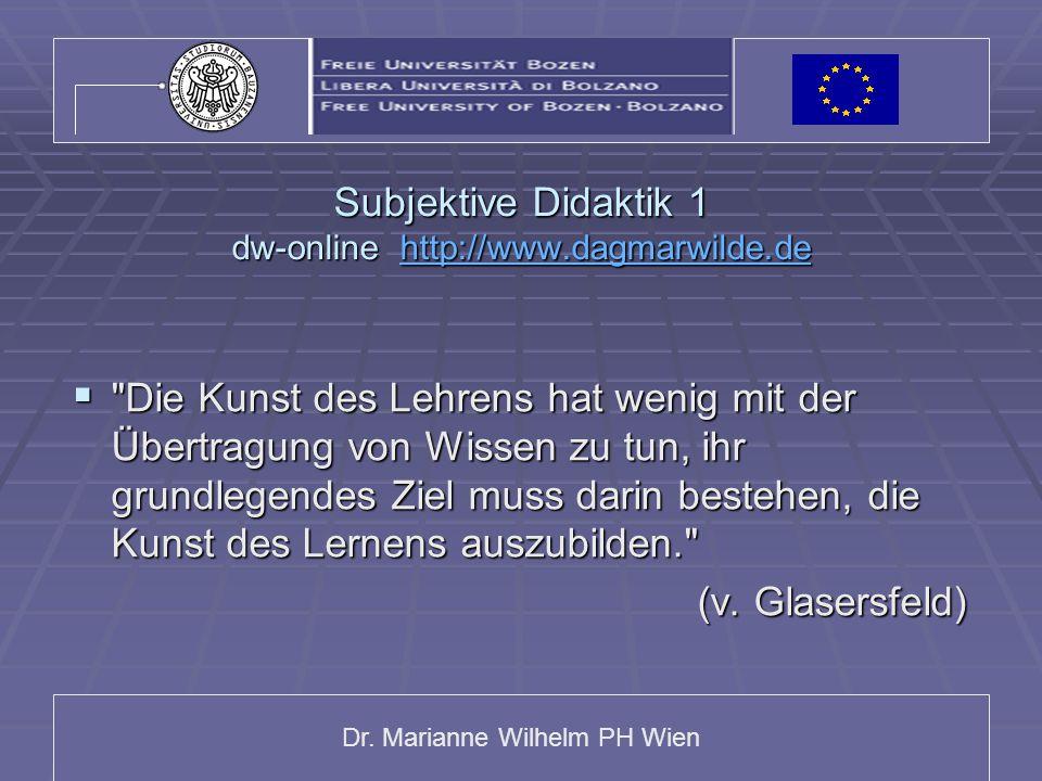 Subjektive Didaktik 1 dw-online http://www.dagmarwilde.de