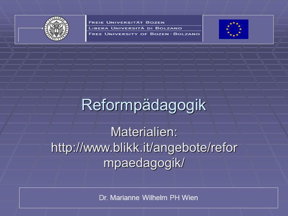 Materialien: http://www.blikk.it/angebote/reformpaedagogik/