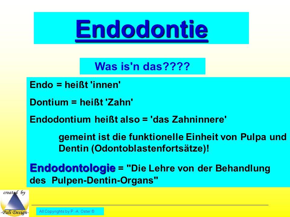 Endodontie Was is n das Endo = heißt innen Dontium = heißt Zahn Endodontium heißt also = das Zahninnere