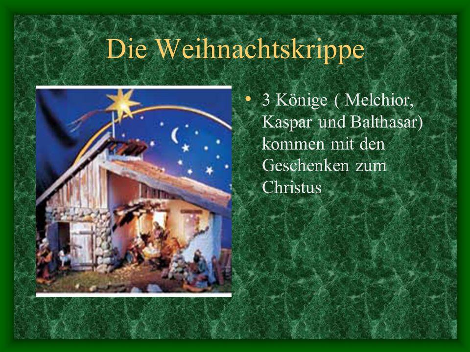 Die Weihnachtskrippe 3 Könige ( Melchior, Kaspar und Balthasar) kommen mit den Geschenken zum Christus.