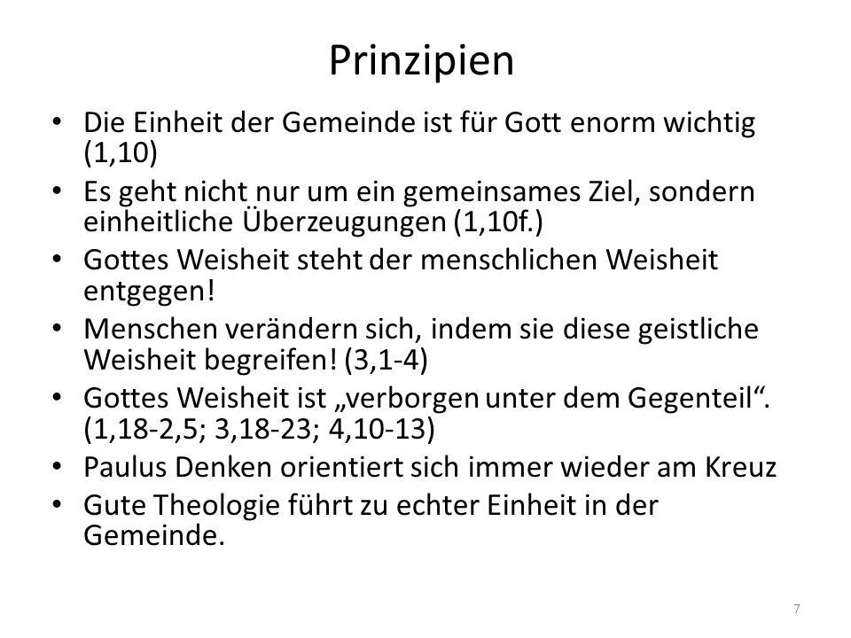Prinzipien Die Einheit der Gemeinde ist für Gott enorm wichtig (1,10)