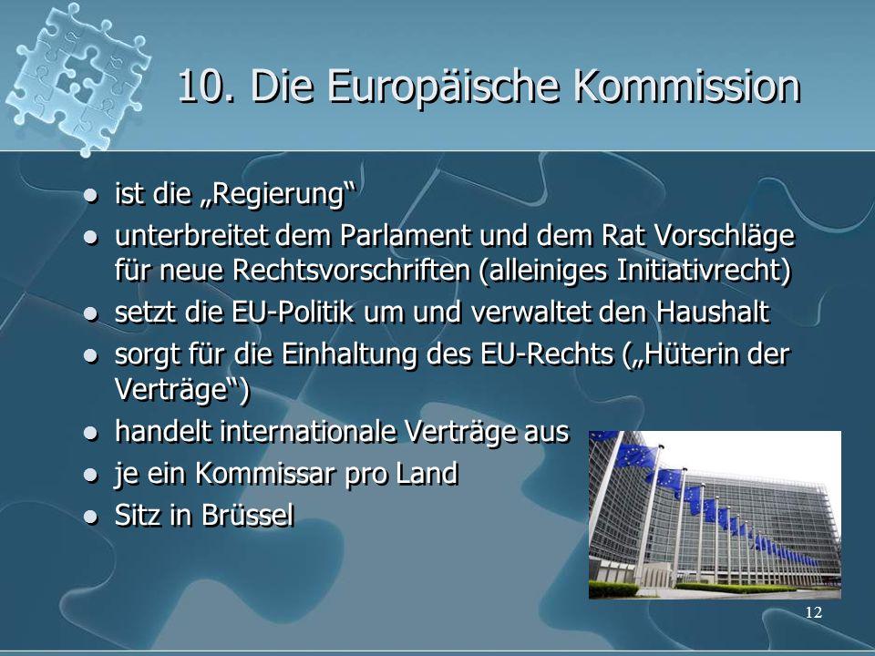 10. Die Europäische Kommission