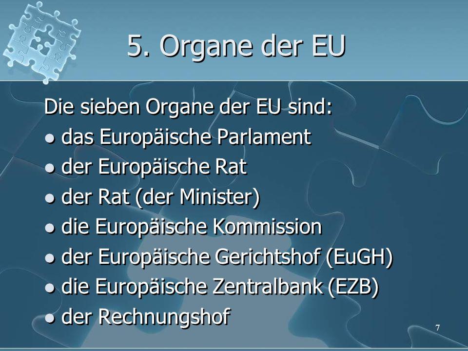 5. Organe der EU Die sieben Organe der EU sind: