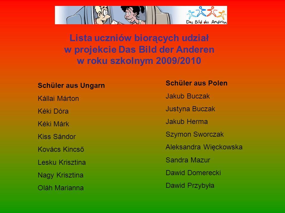 Lista uczniów biorących udział w projekcie Das Bild der Anderen