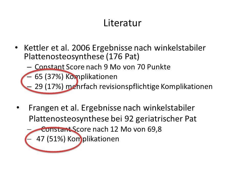 Literatur Kettler et al. 2006 Ergebnisse nach winkelstabiler Plattenosteosynthese (176 Pat) Constant Score nach 9 Mo von 70 Punkte.