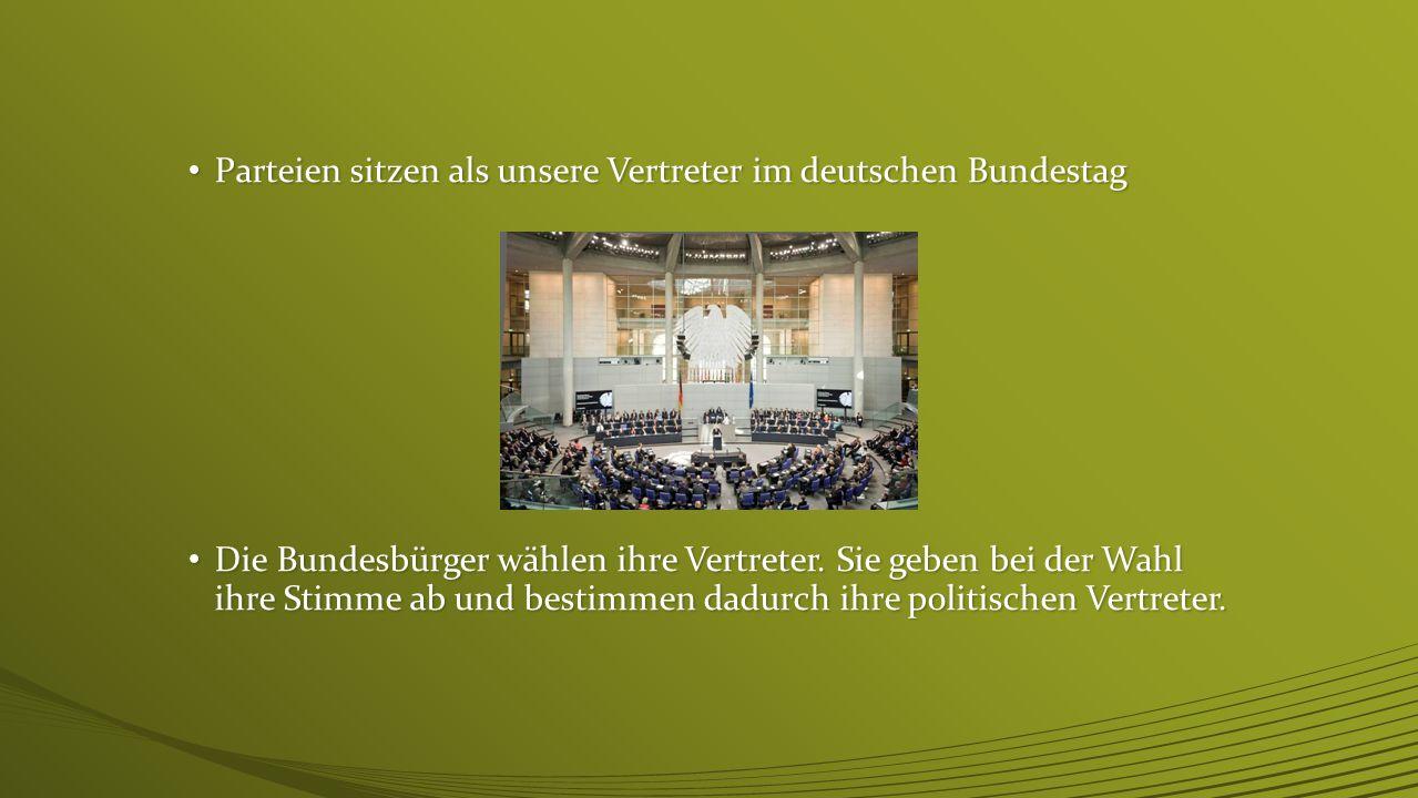Parteien sitzen als unsere Vertreter im deutschen Bundestag