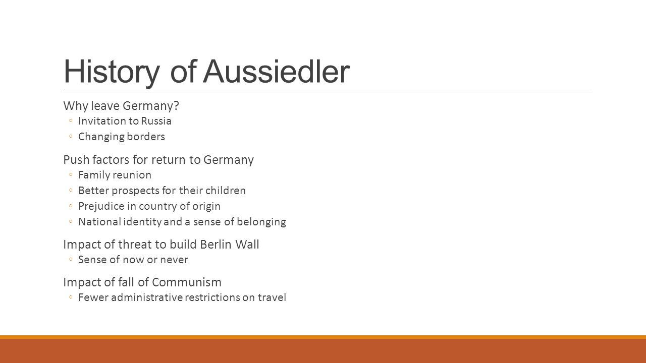 History of Aussiedler Why leave Germany