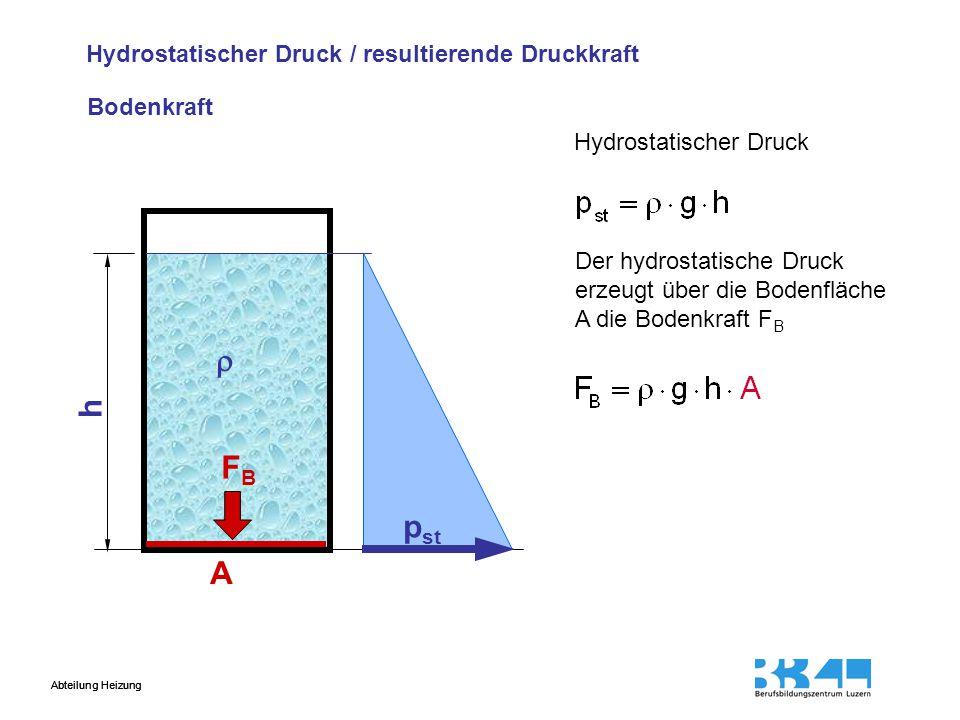  h FB pst A Hydrostatischer Druck / resultierende Druckkraft