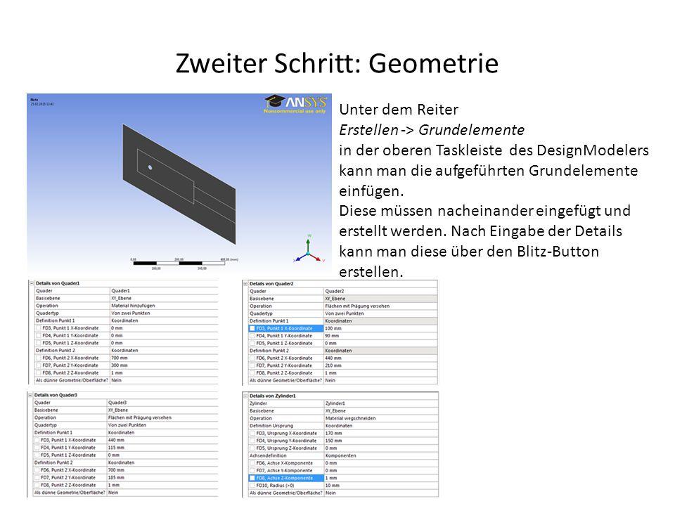 Zweiter Schritt: Geometrie