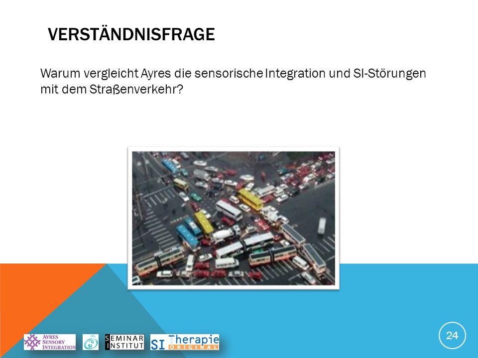 VERSTÄndnisfrage Warum vergleicht Ayres die sensorische Integration und SI-Störungen mit dem Straßenverkehr