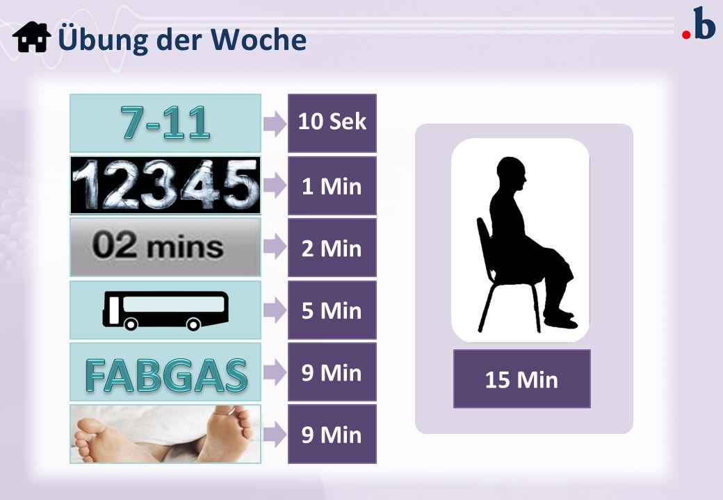 7-11 FABGAS Übung der Woche 10 Sek 1 Min 2 Min 5 Min 9 Min 15 Min