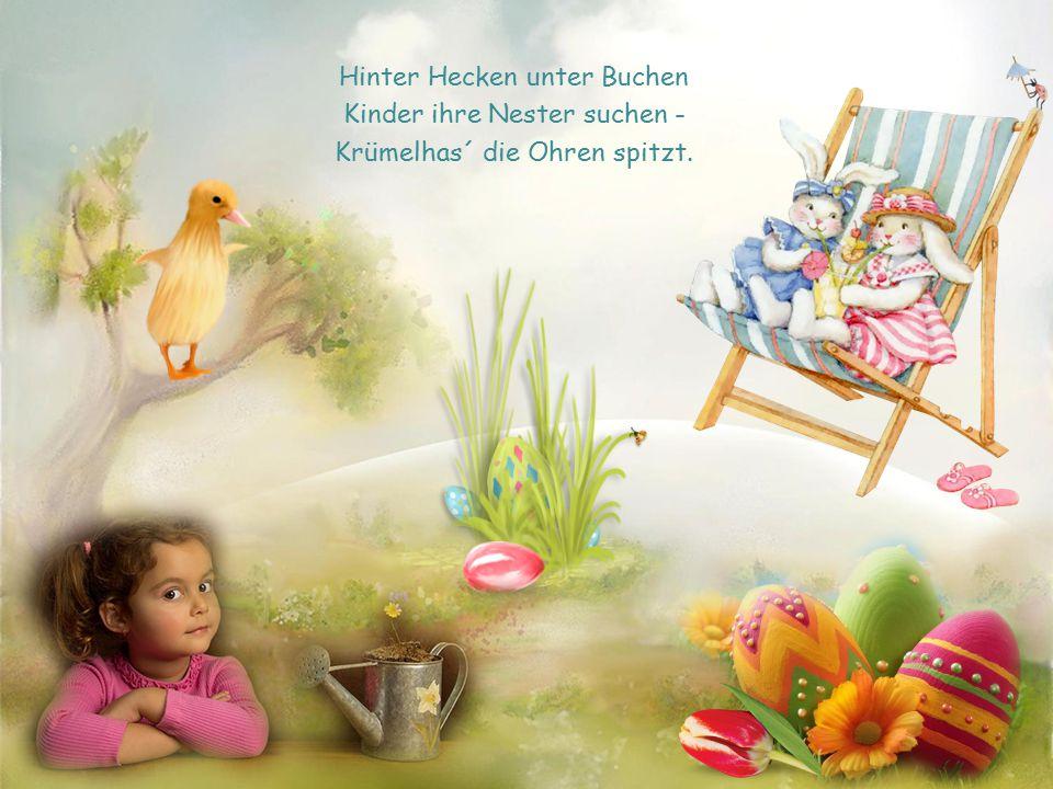 Hinter Hecken unter Buchen Kinder ihre Nester suchen -