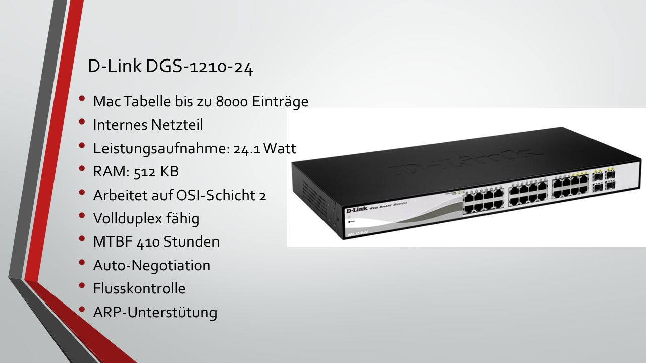 D-Link DGS-1210-24 Mac Tabelle bis zu 8000 Einträge Internes Netzteil