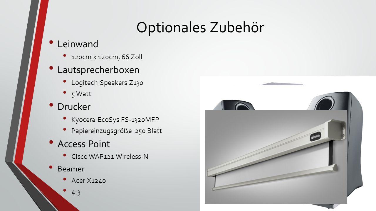 Optionales Zubehör Leinwand Lautsprecherboxen Drucker Access Point