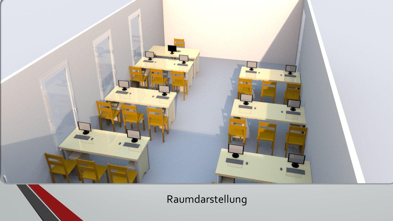 Raumplanung in 3D - Kabelschächte an der Wand entlang Raumdarstellung