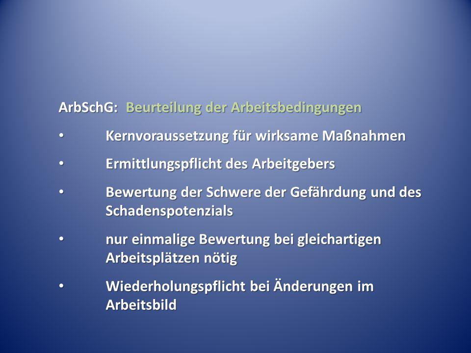 ArbSchG: Beurteilung der Arbeitsbedingungen