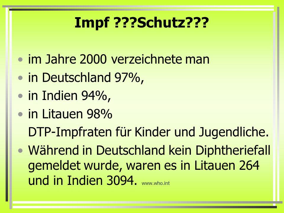 Impf Schutz im Jahre 2000 verzeichnete man in Deutschland 97%,