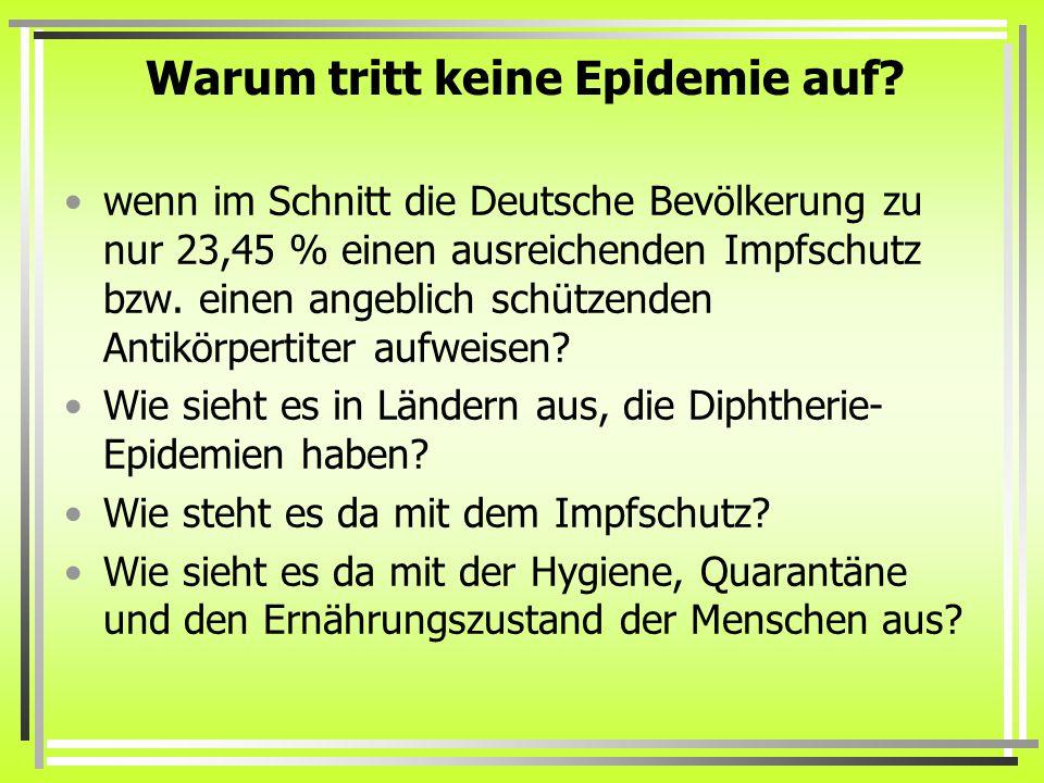 Warum tritt keine Epidemie auf