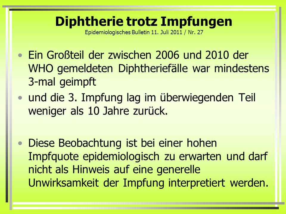 Diphtherie trotz Impfungen Epidemiologisches Bulletin 11