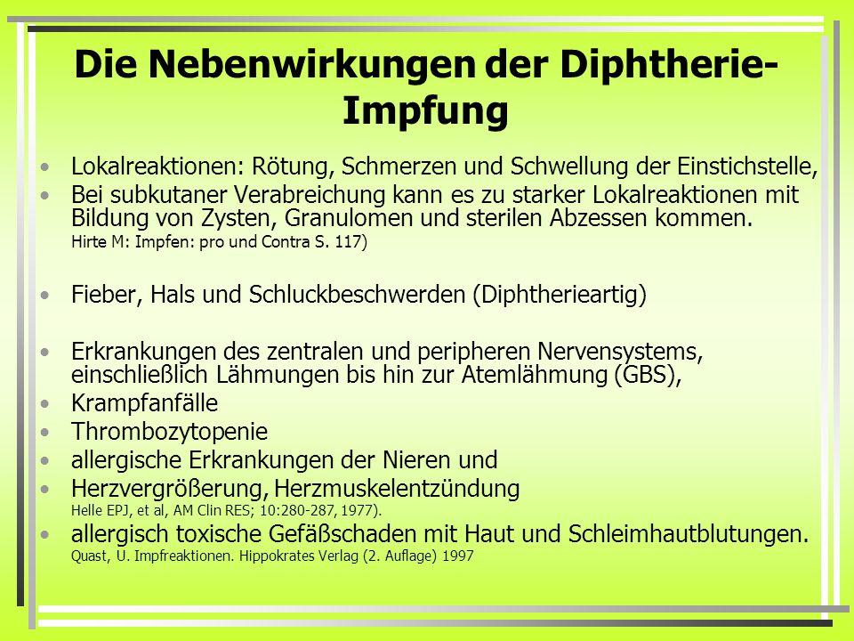 Die Nebenwirkungen der Diphtherie-Impfung
