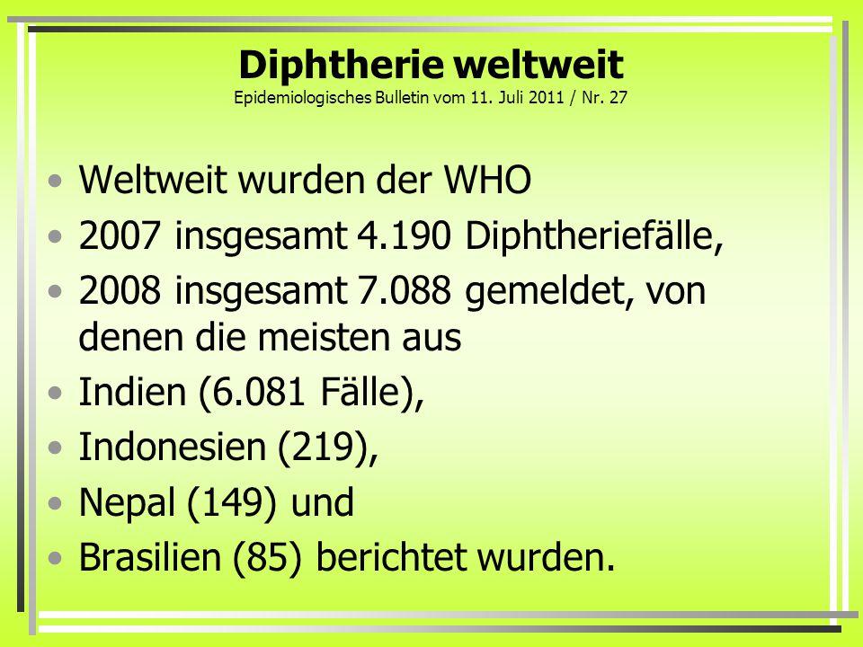 Diphtherie weltweit Epidemiologisches Bulletin vom 11. Juli 2011 / Nr