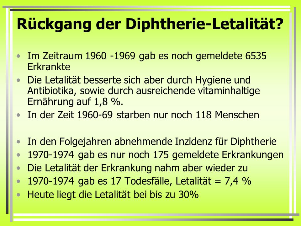 Rückgang der Diphtherie-Letalität
